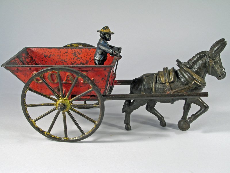 Ives Cast Iron Donkey Driven Coal Cart Large Version