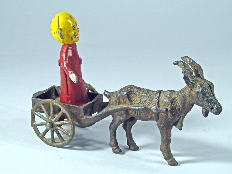 Cast Iron Goat Cart with Yellow Kid Cartoon Figure - 2