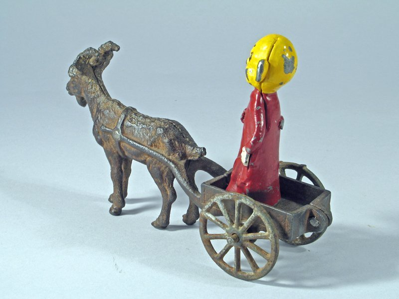 Cast Iron Goat Cart with Yellow Kid Cartoon Figure - 3