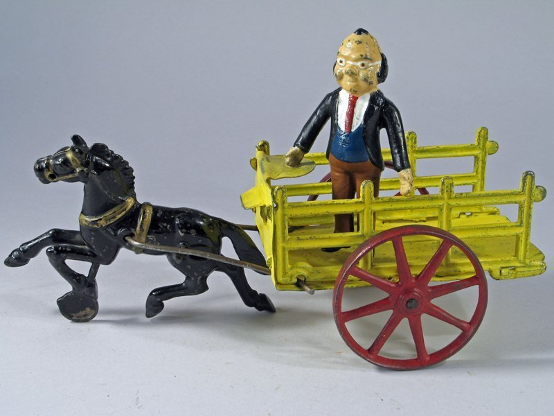Cast Iron Horse Drawn Cart with Foxy Grandpa