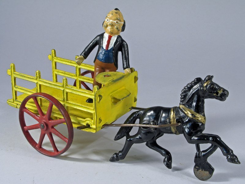 Cast Iron Horse Drawn Cart with Foxy Grandpa - 2