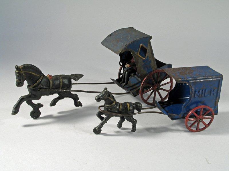 Early American Tin Carriage & Horse Drawn Milk Wagon