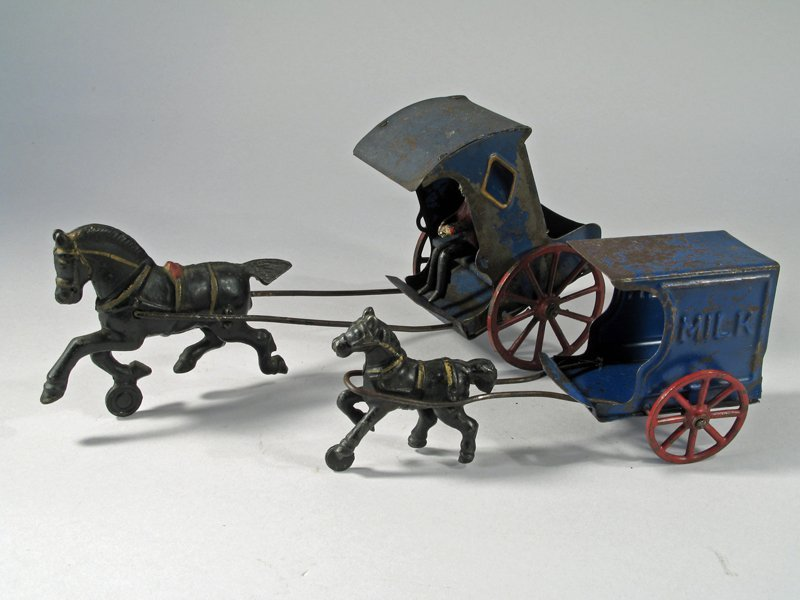 Early American Tin Carriage & Horse Drawn Milk Wagon