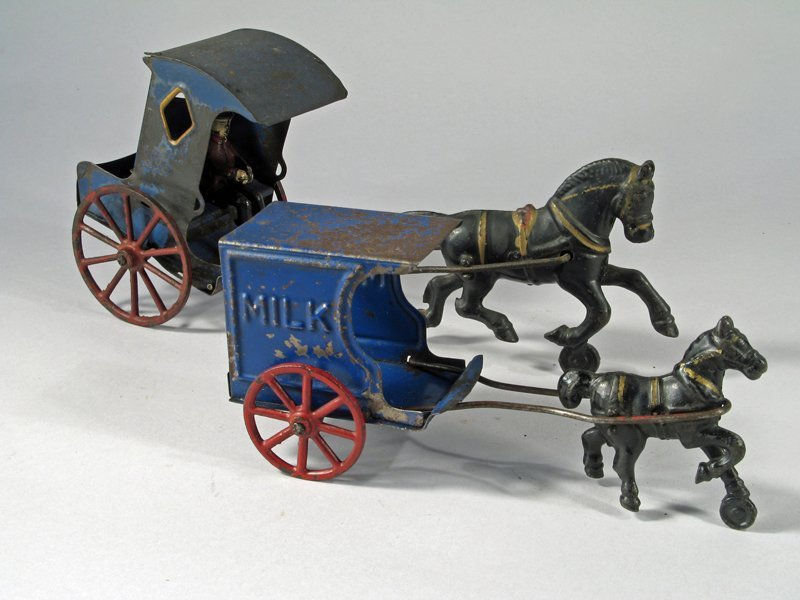 Early American Tin Carriage & Horse Drawn Milk Wagon - 2