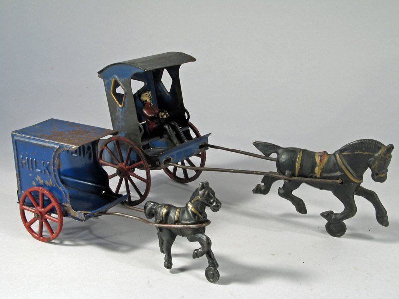 Early American Tin Carriage & Horse Drawn Milk Wagon - 3