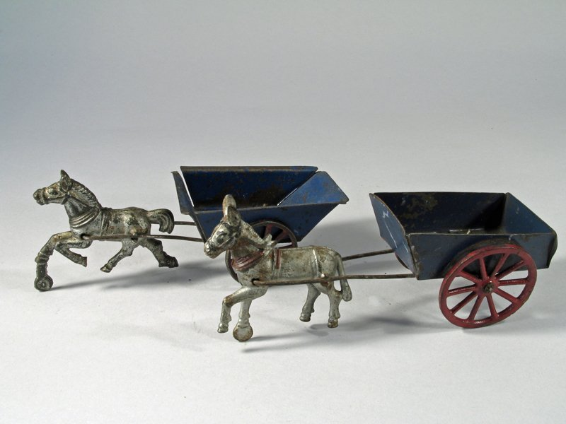 Horse and Donkey Cart Lot cast Iron Tin