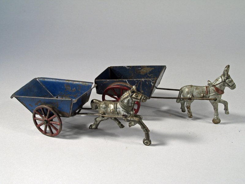 Horse and Donkey Cart Lot cast Iron Tin - 2