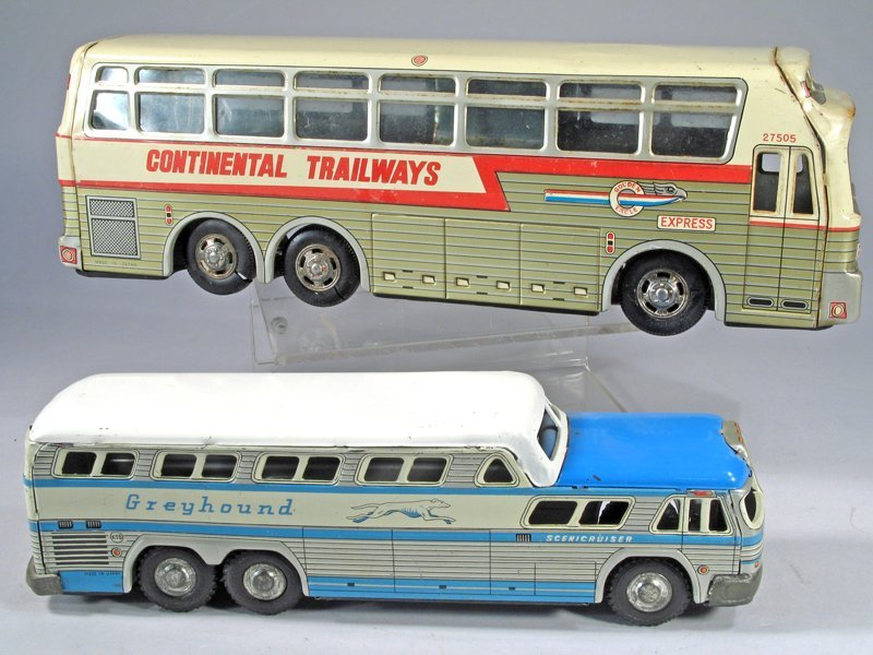 Continental Trailways Greyhound Tin Bus Lot