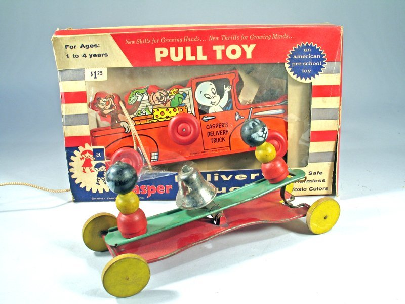Casper Pull Toy In Box Bell Toy Lot