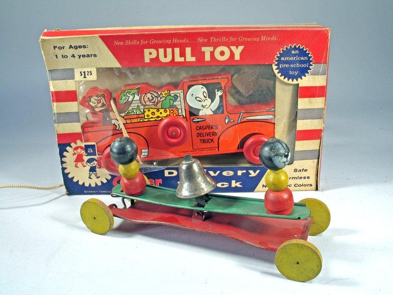 Casper Pull Toy In Box Bell Toy Lot - 2