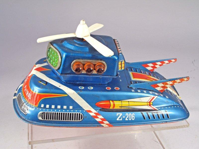 TPS Space Patrol Japan Tin Litho Spaceship