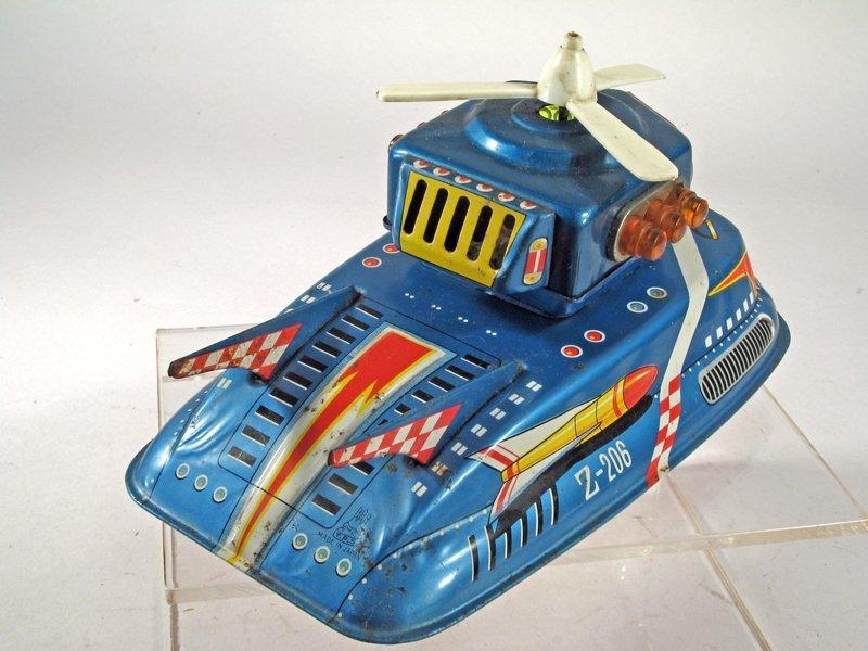 TPS Space Patrol Japan Tin Litho Spaceship - 4