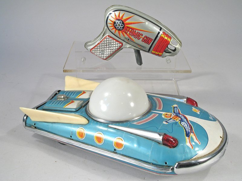 Tin Spaceship and Atomic Space Gun Lot - 2