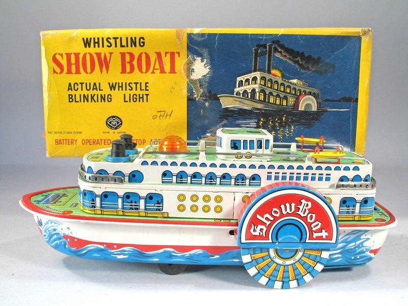 Japan Tin Modern Toys Whistling Showboat & Box Pristine