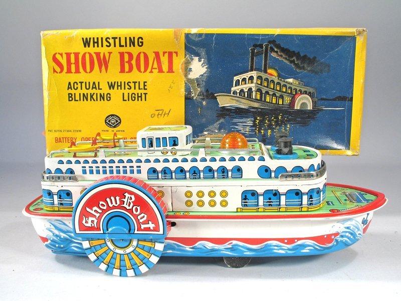 Japan Tin Modern Toys Whistling Showboat & Box Pristine - 2