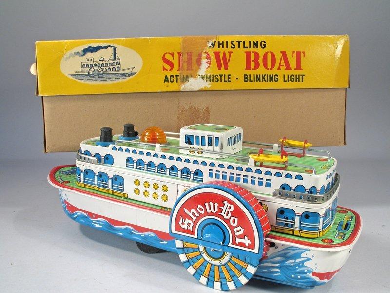 Japan Tin Modern Toys Whistling Showboat & Box Pristine - 3