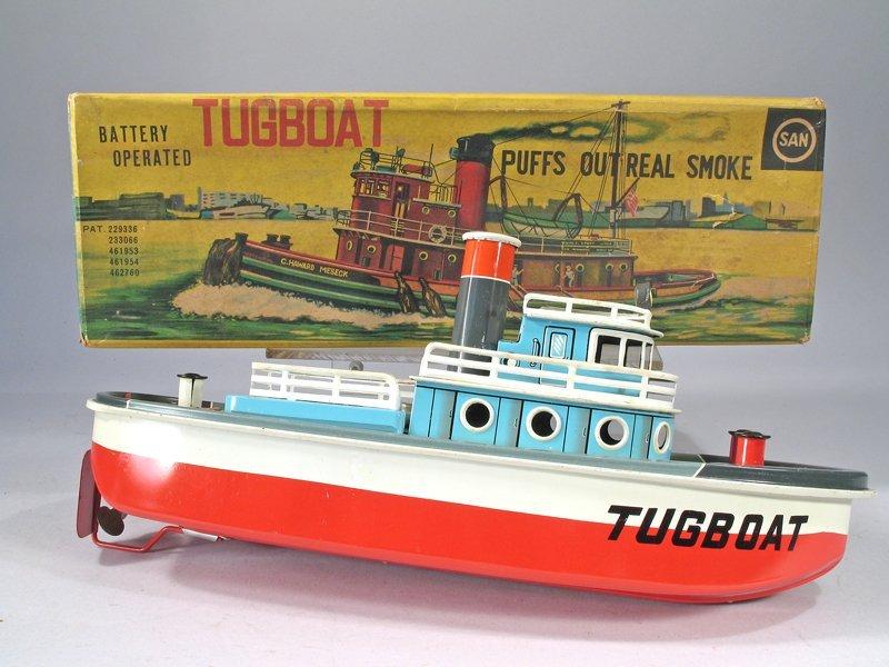 SAN Tin Litho Batt Op Tugboat In Box