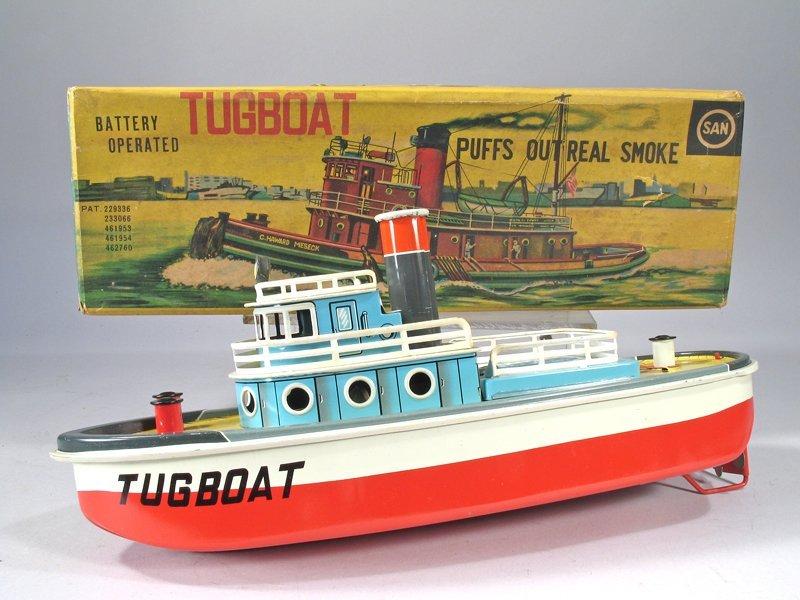 SAN Tin Litho Batt Op Tugboat In Box - 2