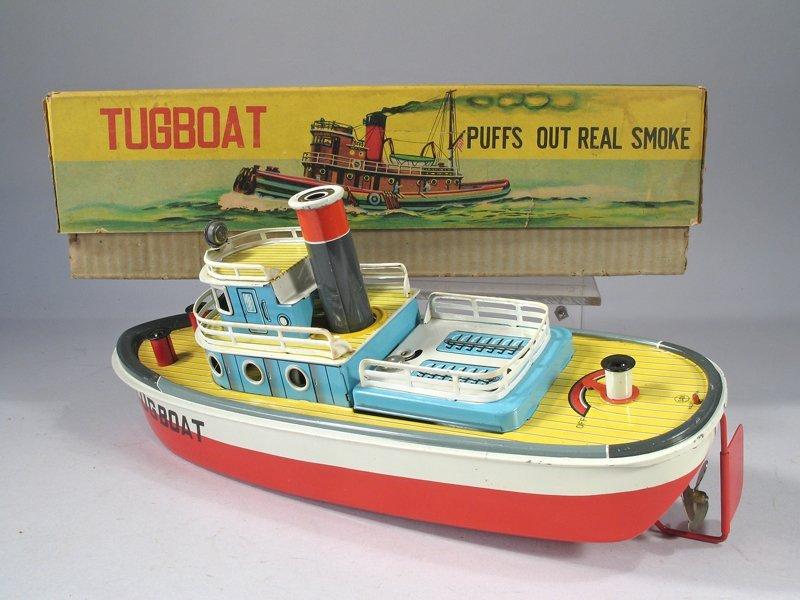 SAN Tin Litho Batt Op Tugboat In Box - 3