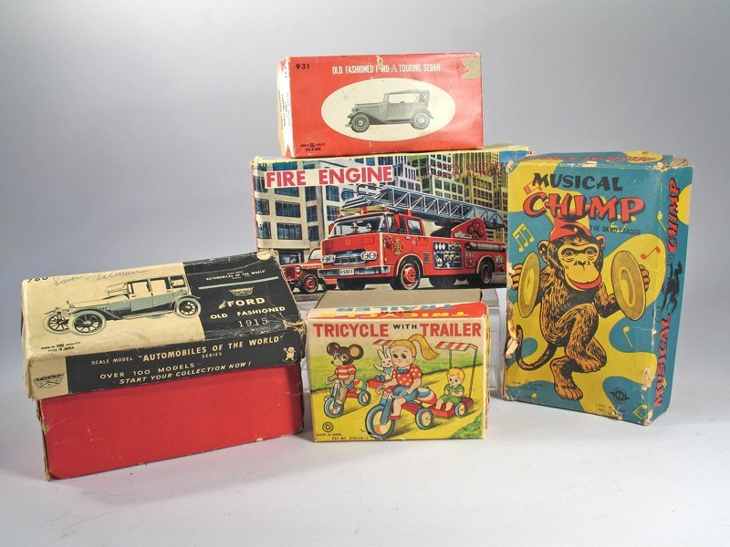 5 Boxed Japan Tin Litho Toys In Boxes