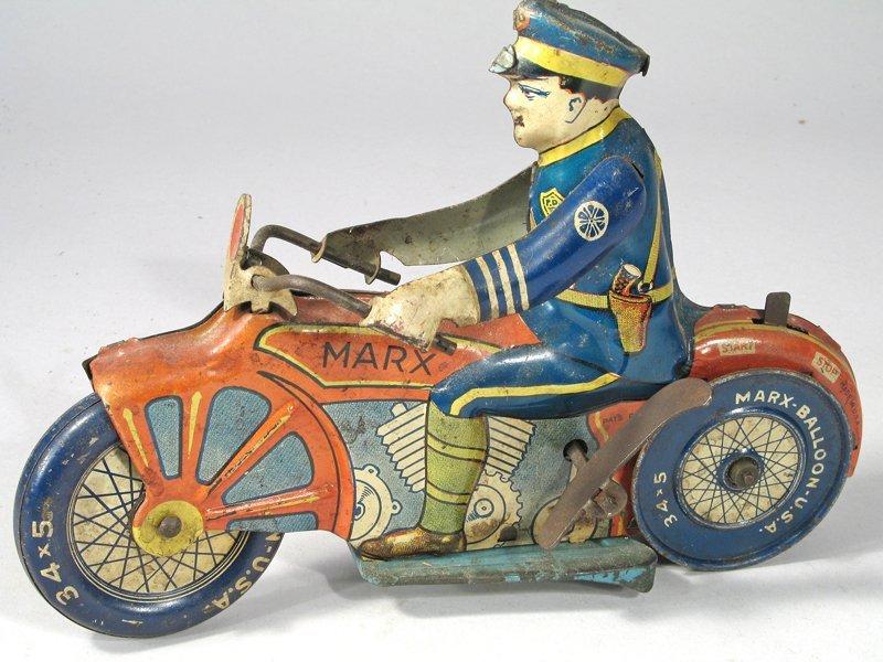 Marx Motorcycle Cop Tin Litho