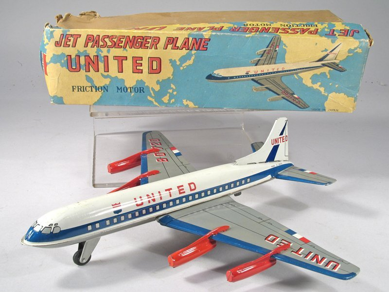 United Airlines Japan Tin Litho Plane in Box