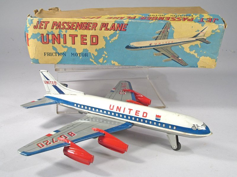 United Airlines Japan Tin Litho Plane in Box - 2