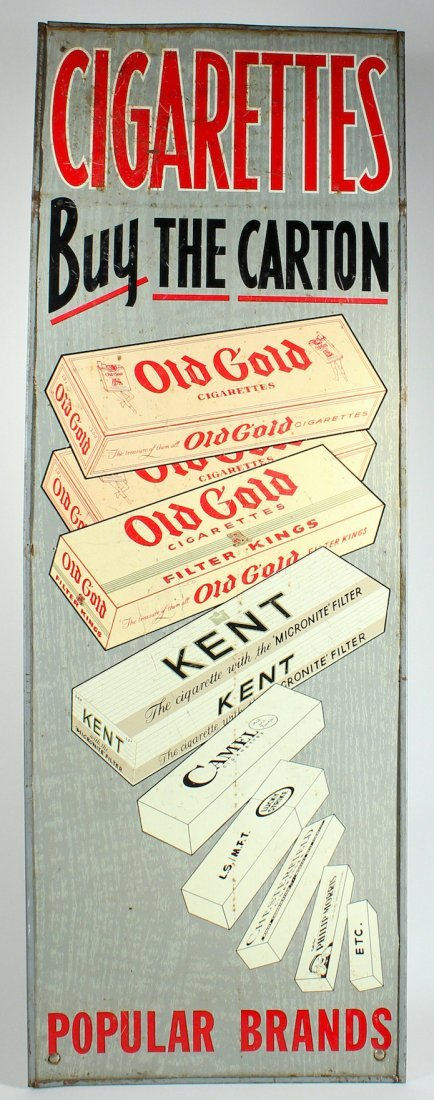 Cigarettes Buy the Carton Scarce Metal Sign