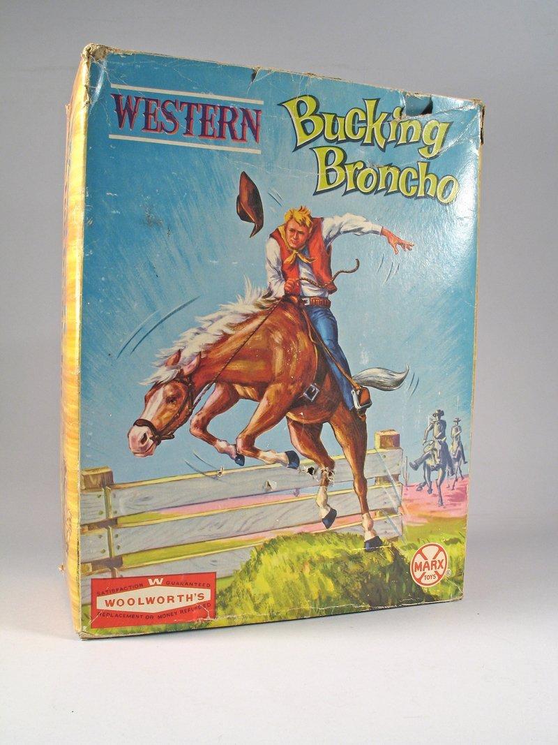 Large Marx Bucking Bronco Cowboy on Horse In Box