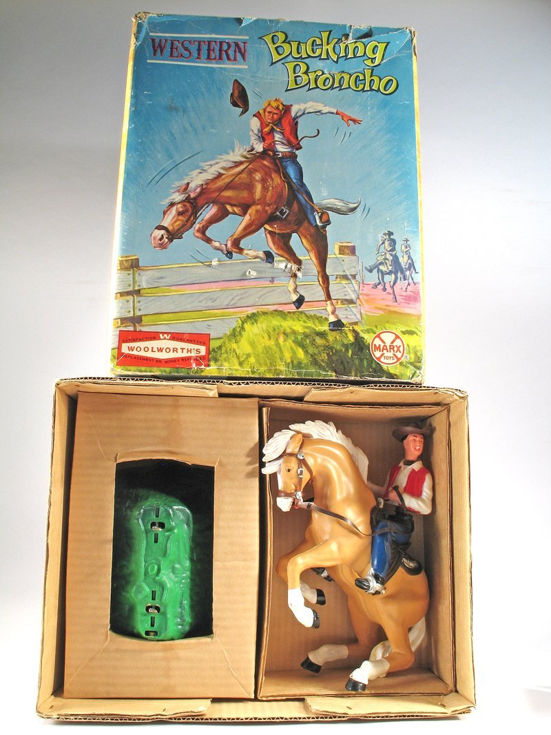 Large Marx Bucking Bronco Cowboy on Horse In Box - 2
