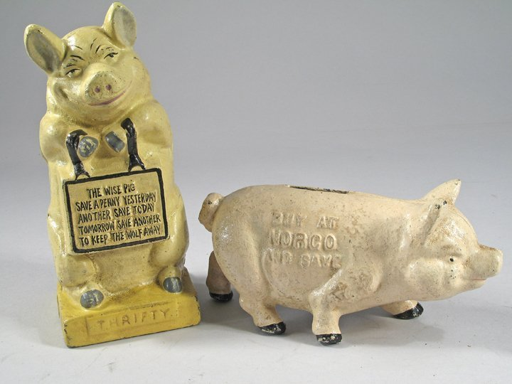 Thrifty Pig Cast Iron Bank Lot Norco Adv Pig