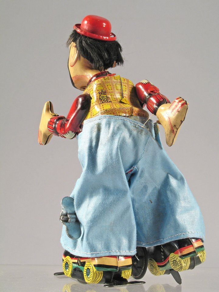 TPS Tin Clown On Roller skates Japan - 3