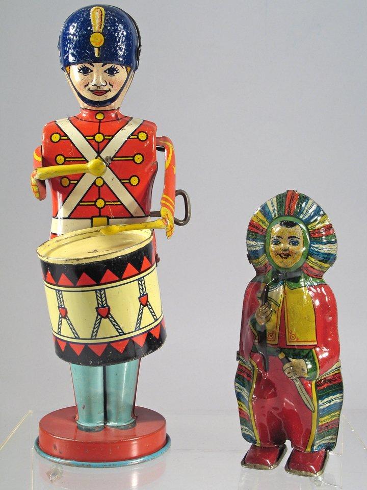 J Chein Drummer Boy Indian Tin Litho Lot