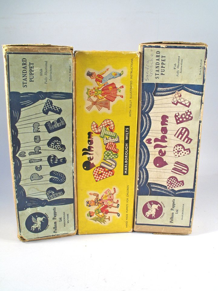 Pelham Golliwog Puppet Lot 1940's England in Boxes