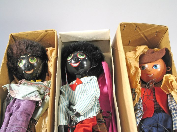 Pelham Golliwog Puppet Lot 1940's England in Boxes - 3