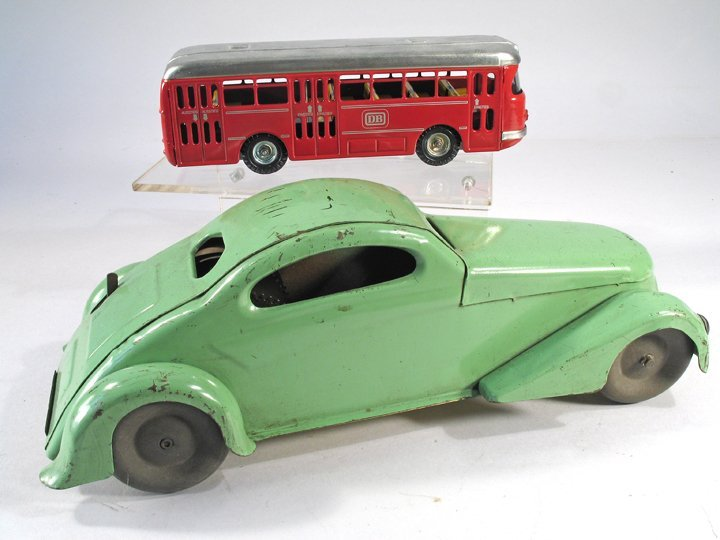1930s Pressed Steel Coupe and Kellermann Bus in Box - 2