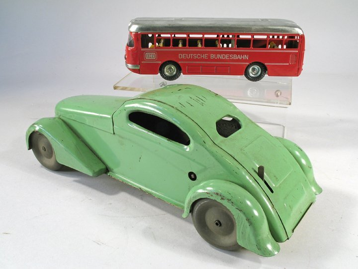 1930s Pressed Steel Coupe and Kellermann Bus in Box - 3