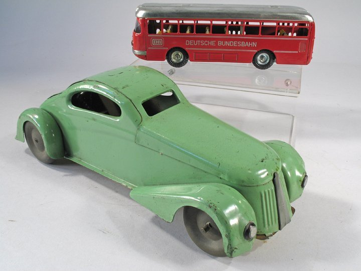1930s Pressed Steel Coupe and Kellermann Bus in Box - 4
