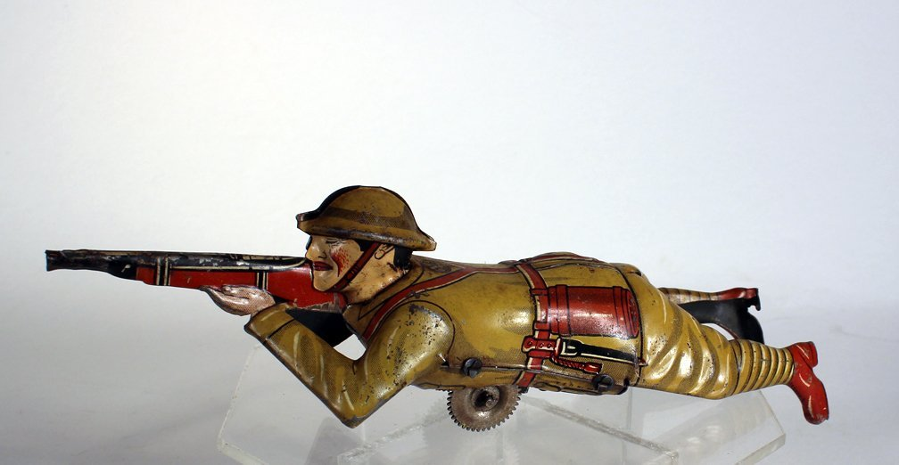 Marx Crawling Doughboy Soldier Tin Wind Up - 2