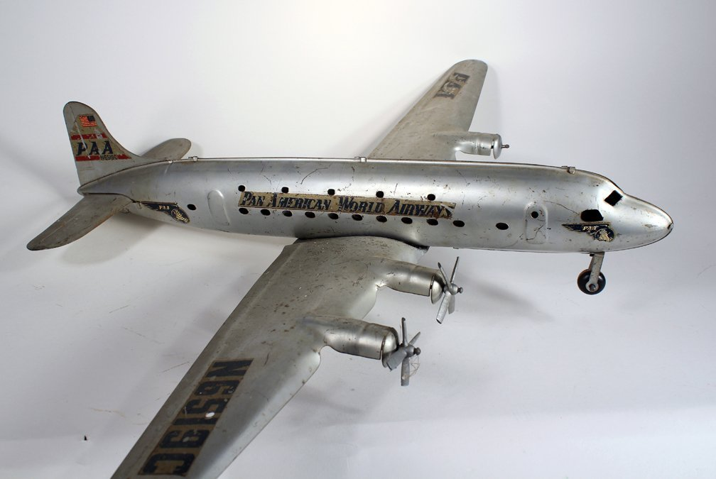 Marx Pressed Steel Large Pan Am DC-4 Airplane