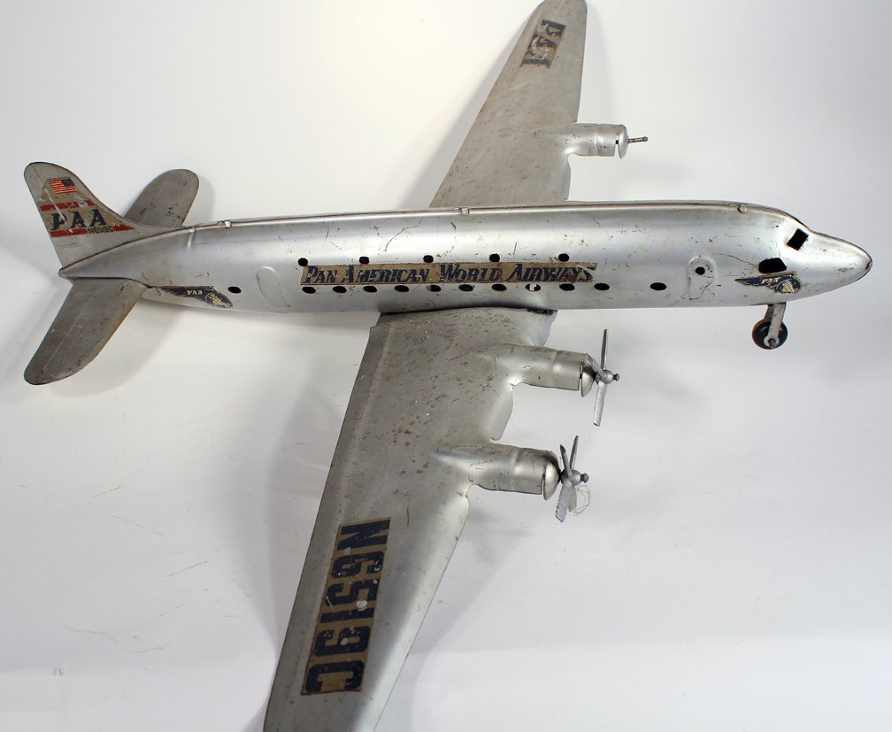 Marx Pressed Steel Large Pan Am DC-4 Airplane - 3