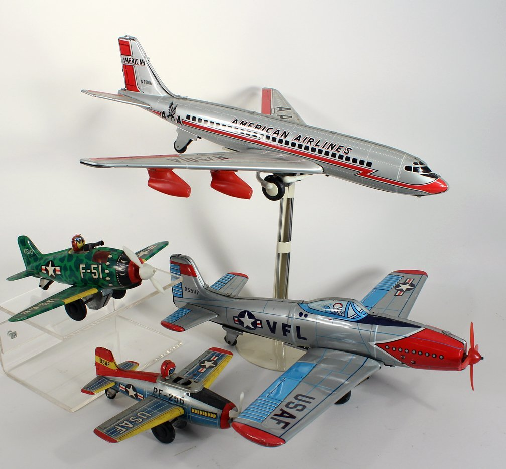 4 Japan Tin Airplane Lot American Airlines &