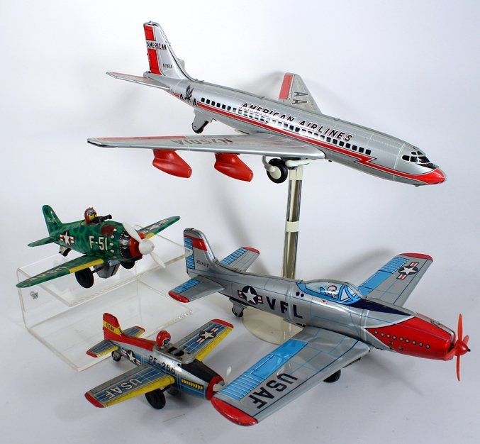 4 Japan Tin Airplane Lot American Airlines & - 3
