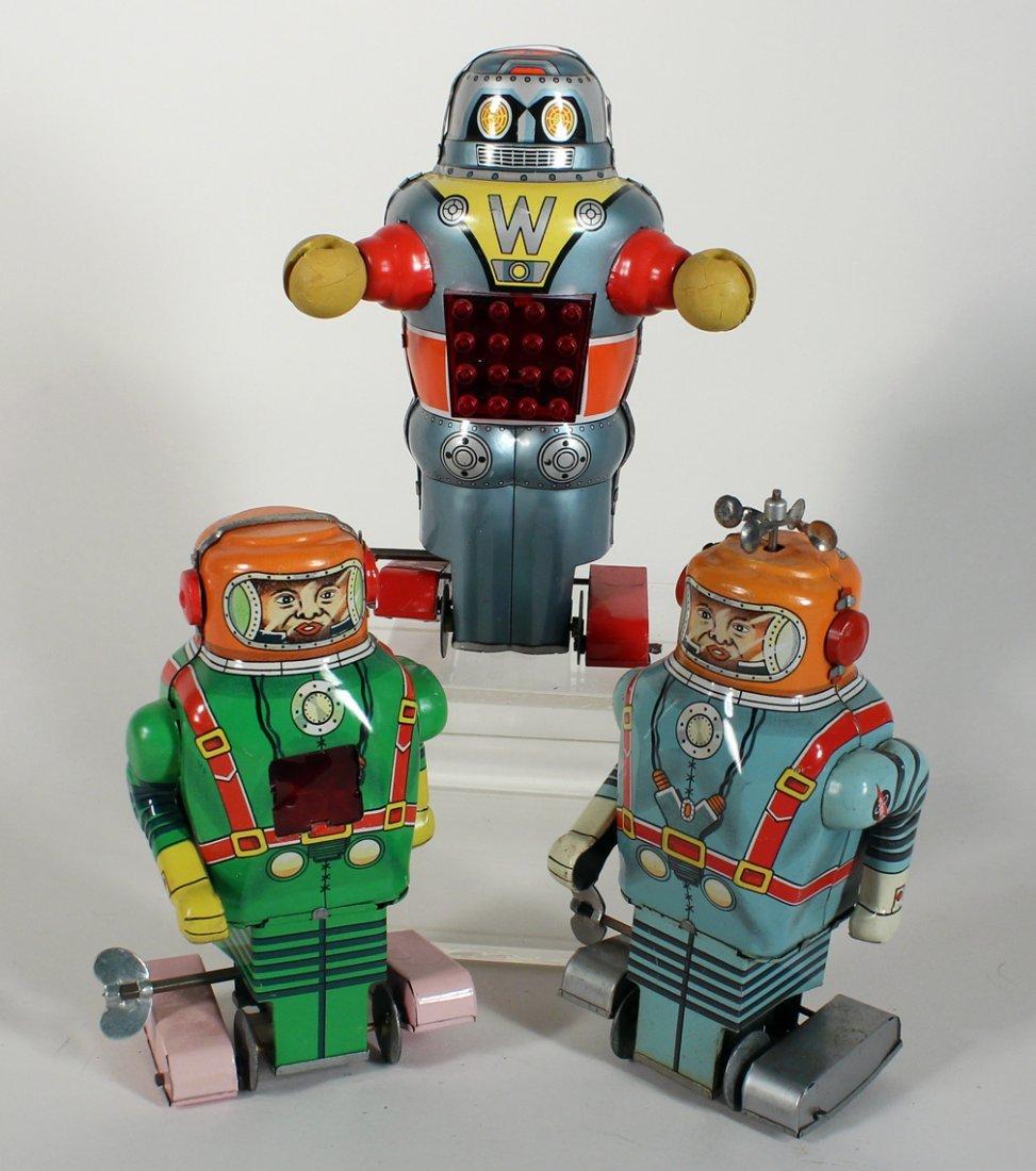 """3 Japan Tin Robots Astronaut & """"W"""" Robot"""