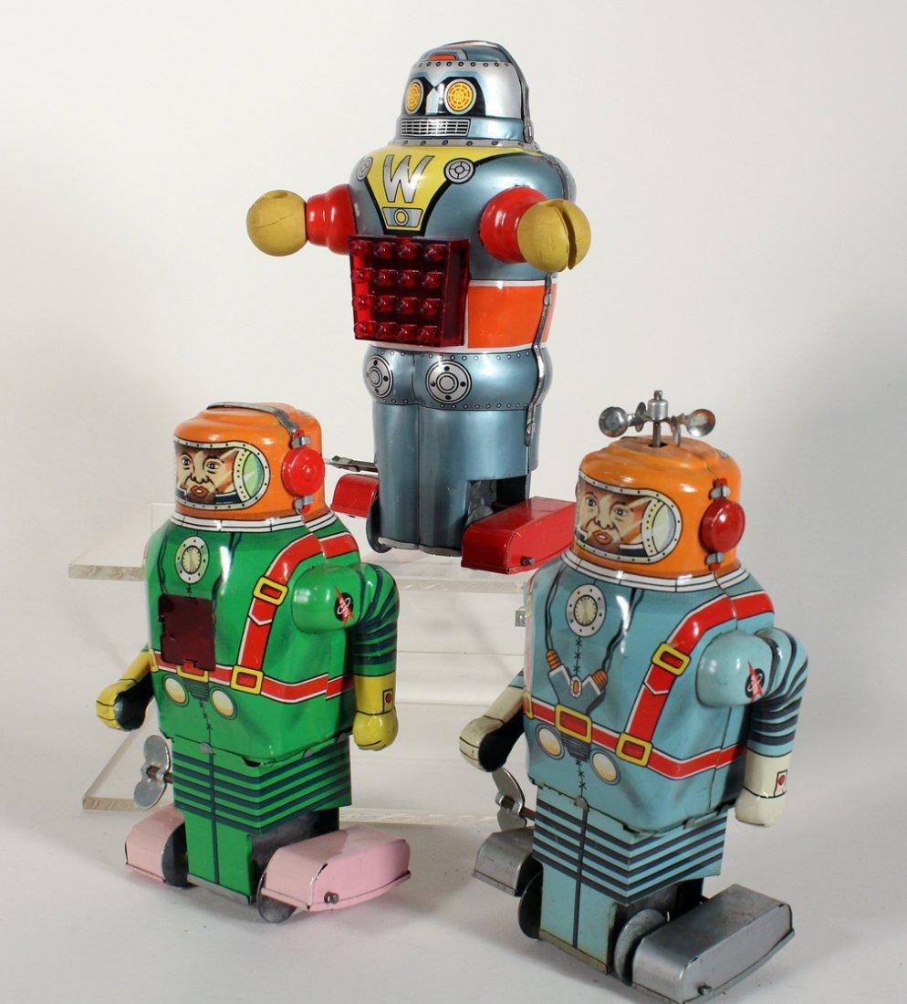"""3 Japan Tin Robots Astronaut & """"W"""" Robot - 2"""
