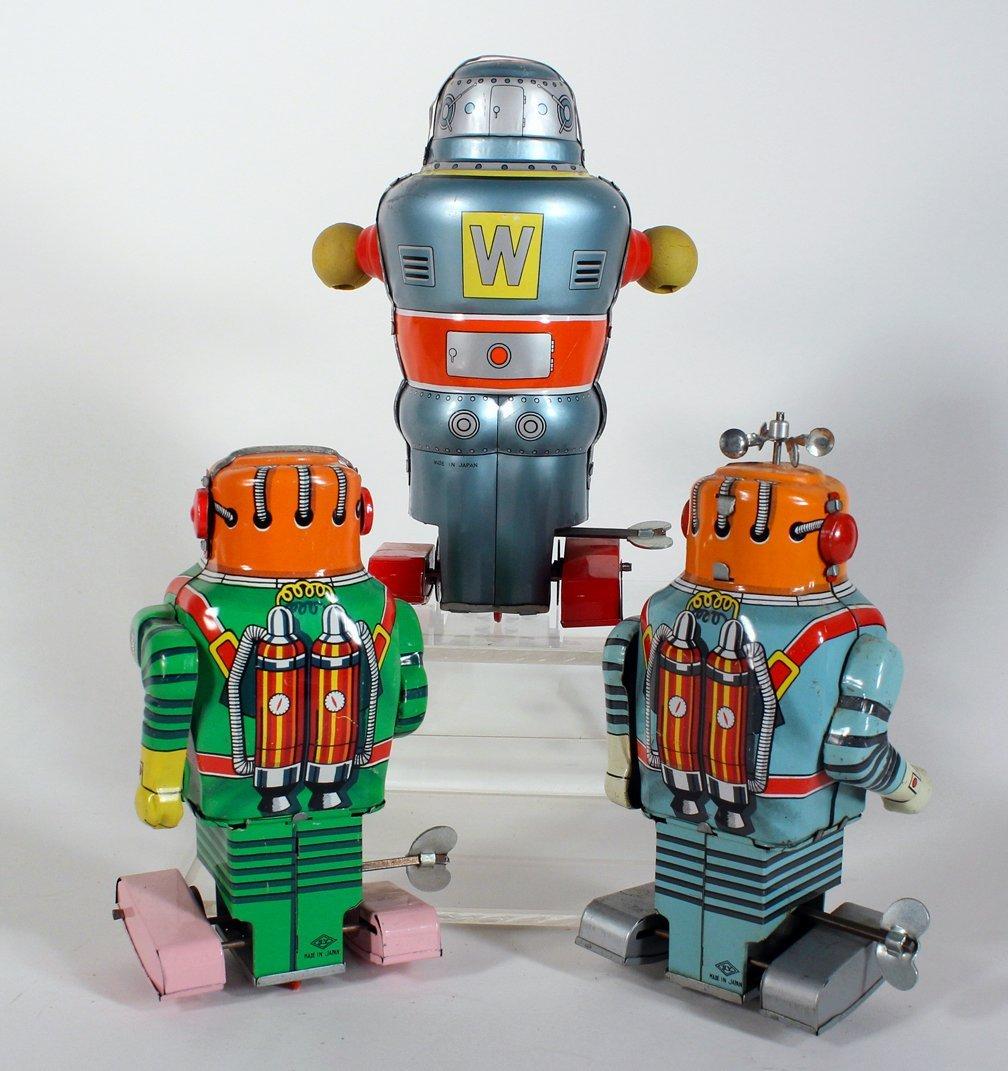 """3 Japan Tin Robots Astronaut & """"W"""" Robot - 3"""