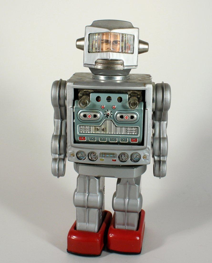 Japan Tin Horikawa Silver Fighting Astronaut Robot