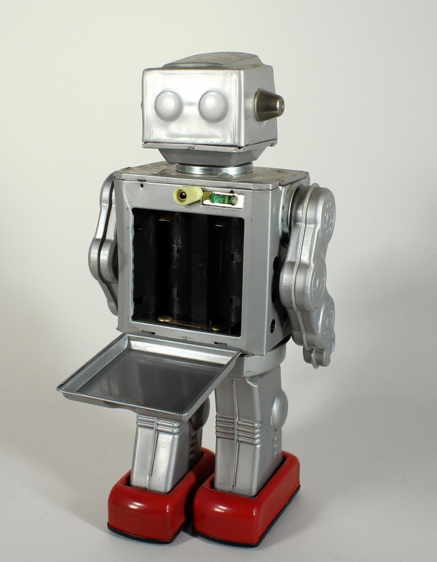 Japan Tin Horikawa Silver Fighting Astronaut Robot - 3