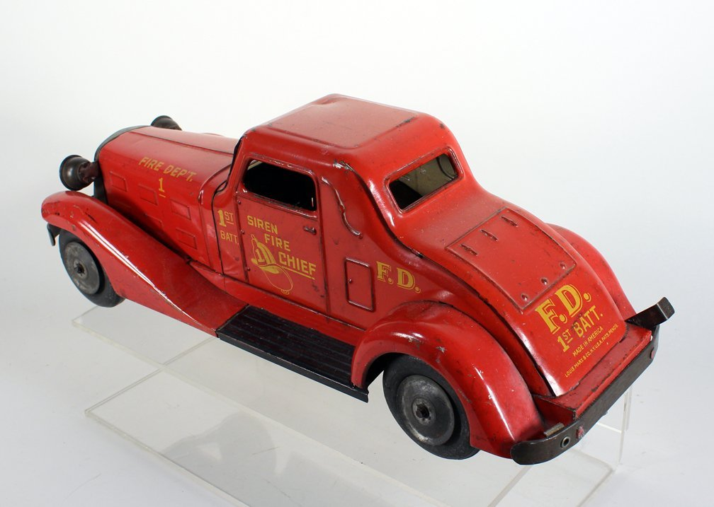 1930s Louis Marx Siren Fire Chief Pressed Steel Coupe - 3
