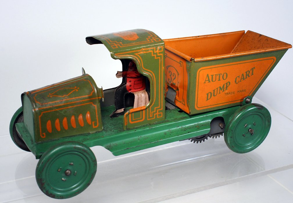 Ferdinand Strauss Tin Auto Dump Cart Early Wind Up